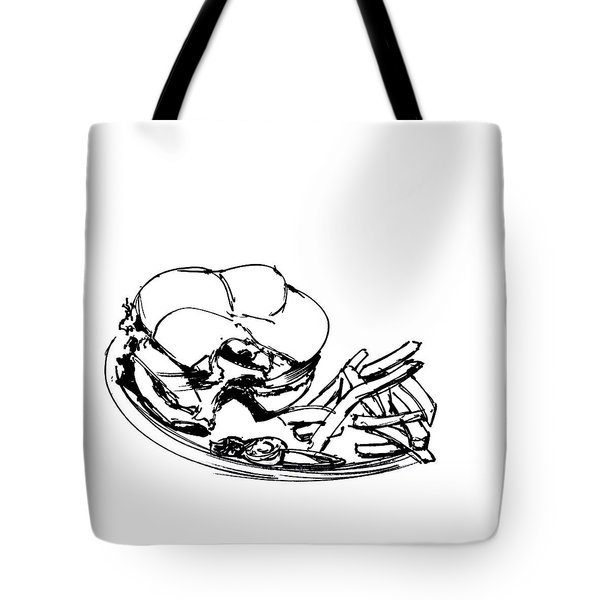 Diner Drawing Charbroiled Chicken 2 Tote Bag by Chad Glass