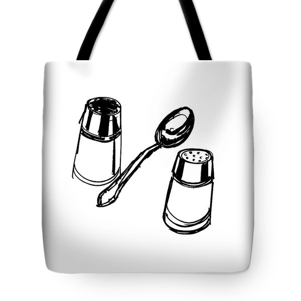 Diner Drawing Salt, Pepper, And Spoon Tote Bag by Chad Glass