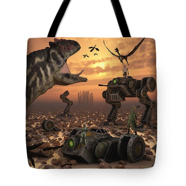 Dinosaurs And Robots Fight A War Tote Bag by Mark Stevenson
