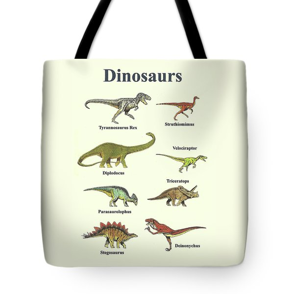 Dinosaurs Collage - Portrait Tote Bag by Michael Vigliotti