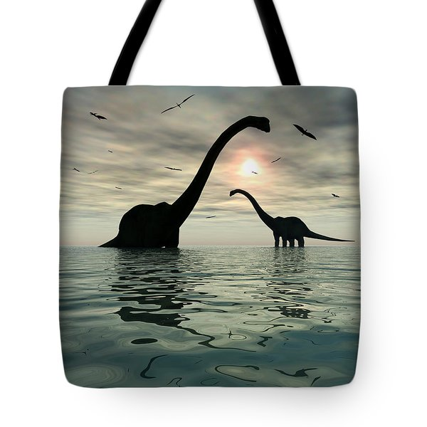 Diplodocus Dinosaurs Bathe In A Large Tote Bag by Mark Stevenson