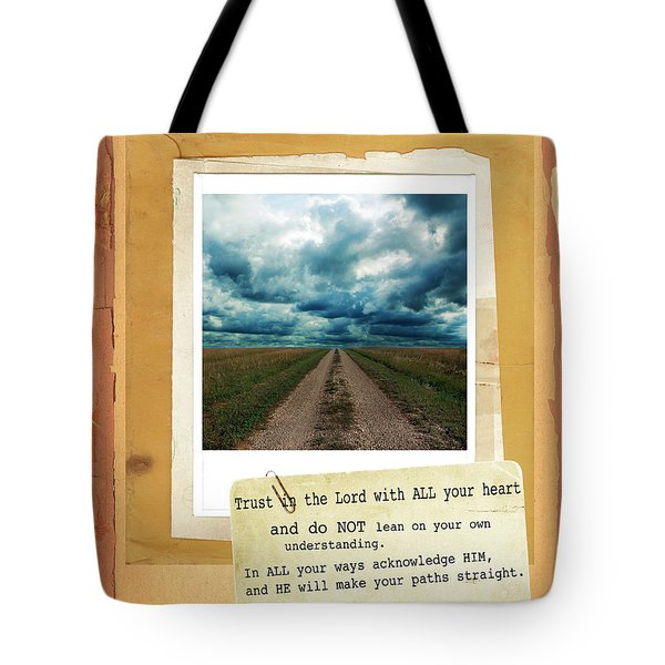 Dirt Road With Scripture Verse Tote Bag by Jill Battaglia