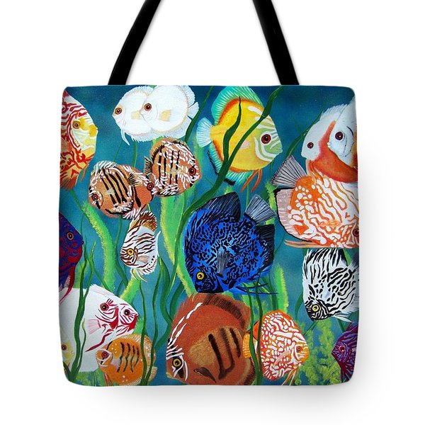 Discus Fantasy Tote Bag by Debbie LaFrance