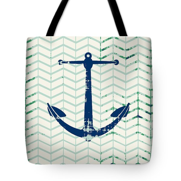 Distressed Navy Anchor V2 Tote Bag by Brandi Fitzgerald