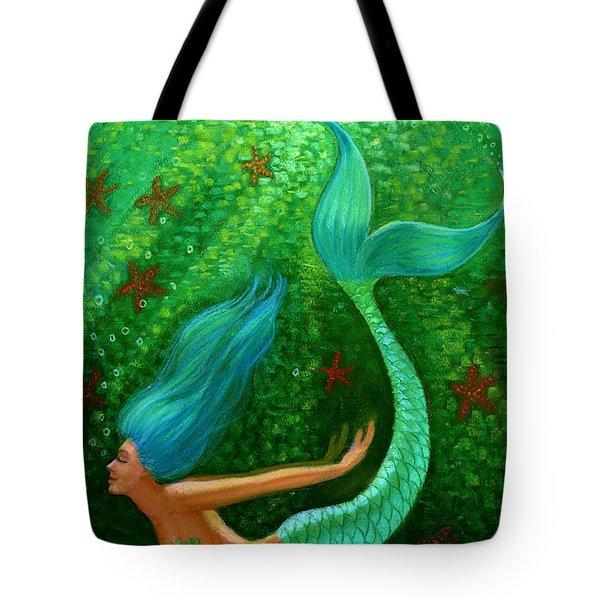 Diving Mermaid Fantasy Art Tote Bag by Sue Halstenberg
