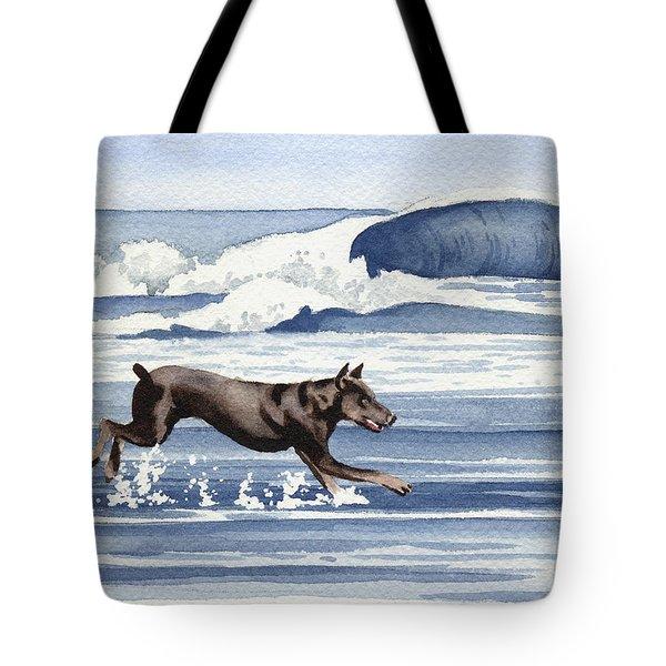 Doberman At The Beach  Tote Bag by David Rogers