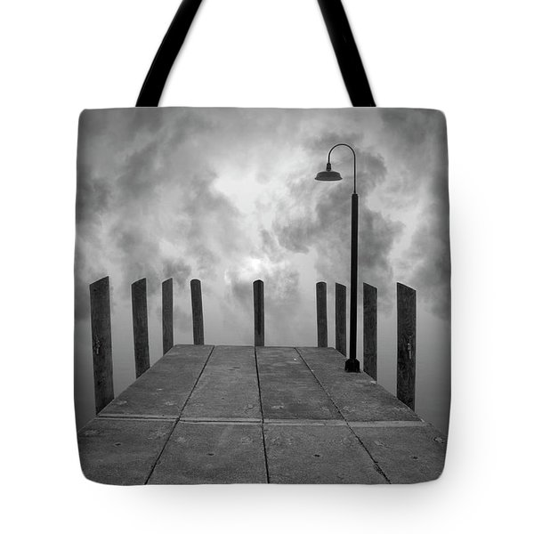 Dock And Clouds Tote Bag by Dave Gordon