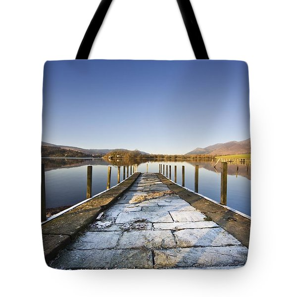 Dock In A Lake, Cumbria, England Tote Bag by John Short