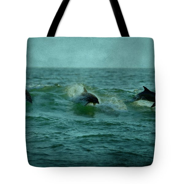 Dolphins Tote Bag by Sandy Keeton