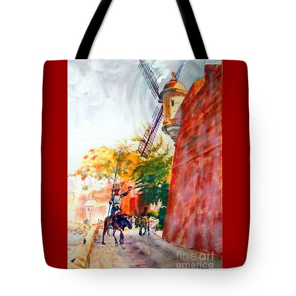 Don Quixote In San Juan Tote Bag by Estela Robles