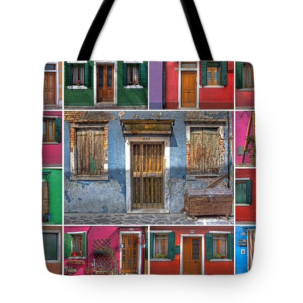 doors and windows of Burano - Venice Tote Bag by Joana Kruse