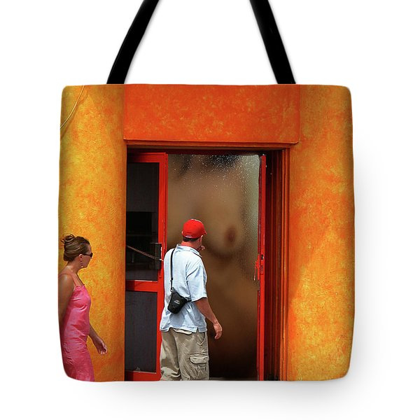 Doorway Undressing Tote Bag by Harry Spitz