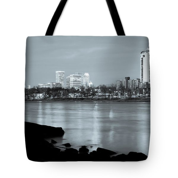 Downtown Tulsa Oklahoma - University Tower View - Black And White Tote Bag by Gregory Ballos