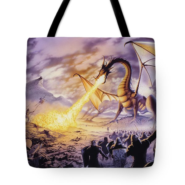 Dragon Battle Tote Bag by The Dragon Chronicles - Steve Re