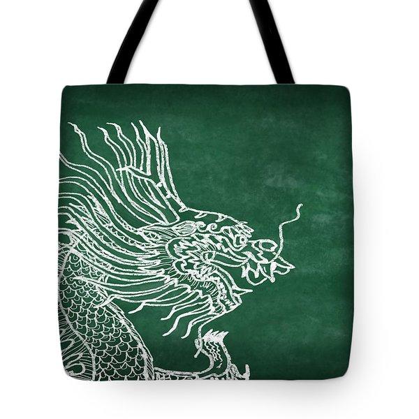 Dragon On Chalkboard Tote Bag by Setsiri Silapasuwanchai