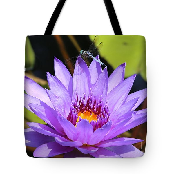 Dragonfly On Water Lily Tote Bag by Carol Groenen