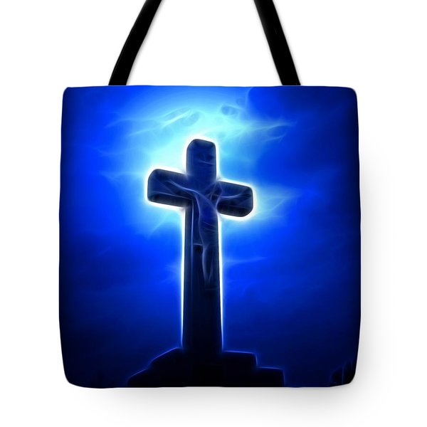 Dramatic Jesus Crucifixion Tote Bag by Pamela Johnson