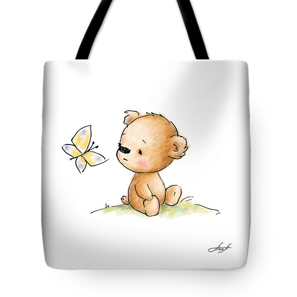 Drawing Of Cute Teddy Bear With Butterfly Tote Bag by Anna Abramska