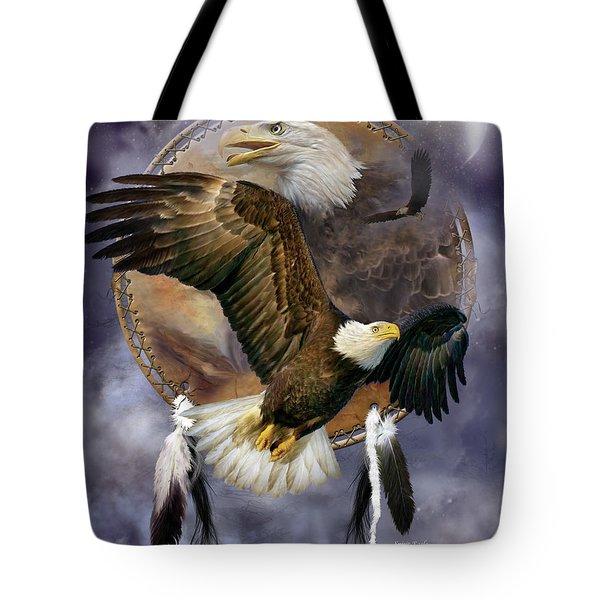 Dream Catcher - Spirit Eagle Tote Bag by Carol Cavalaris