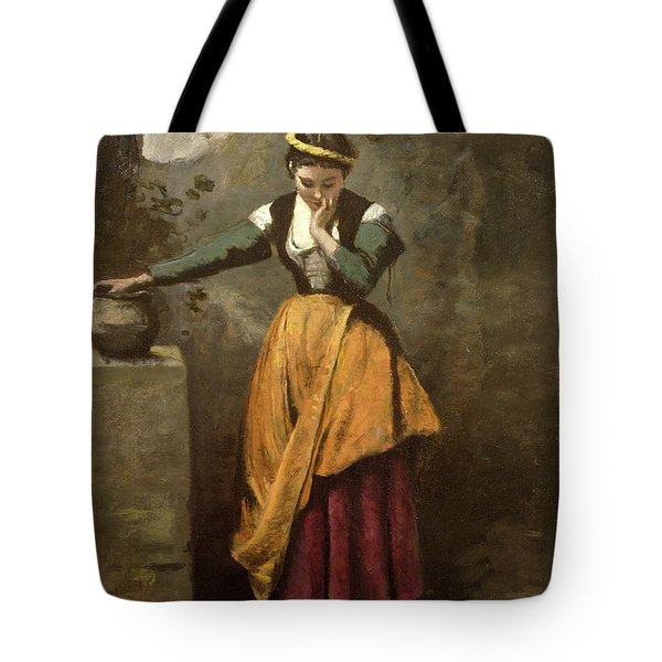 Dreamer At The Fountain Tote Bag by Jean Baptiste Camille Corot