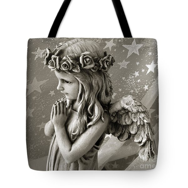 Dreamy Little Girl Angel With Praying Hands  Tote Bag by Kathy Fornal