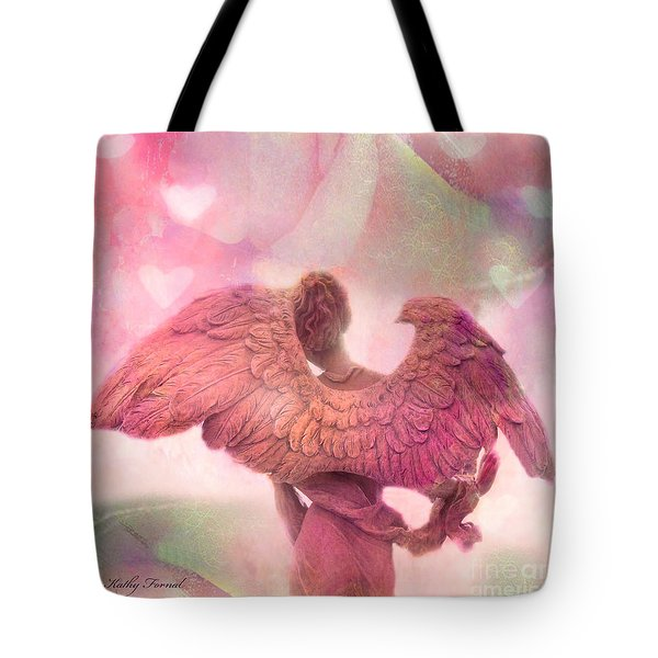 Dreamy Whimsical Pink Angel Wings With Hearts Tote Bag by Kathy Fornal