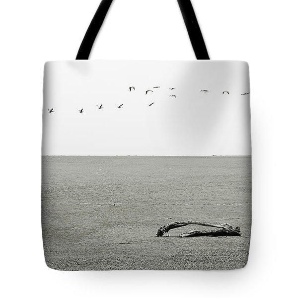 Driftwood Log and Birds - A Gray Day On The Beach Tote Bag by Christine Till