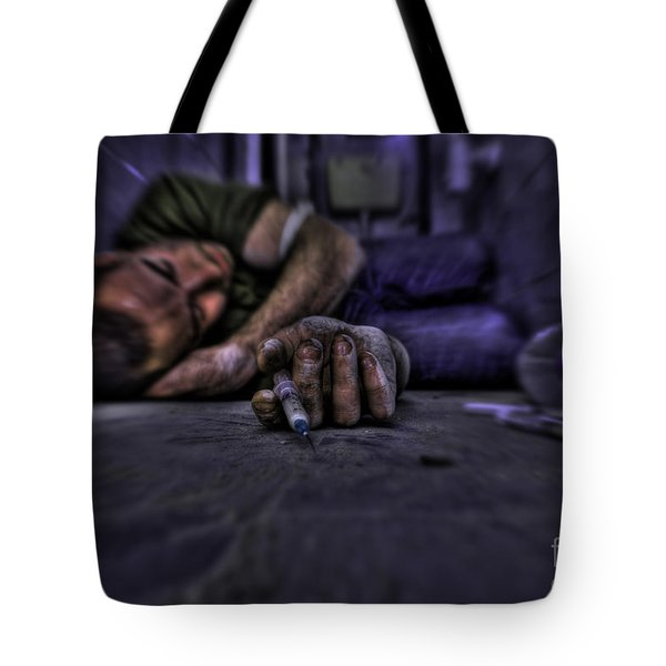 Drug Addict Shooting Up Tote Bag by Guy Viner