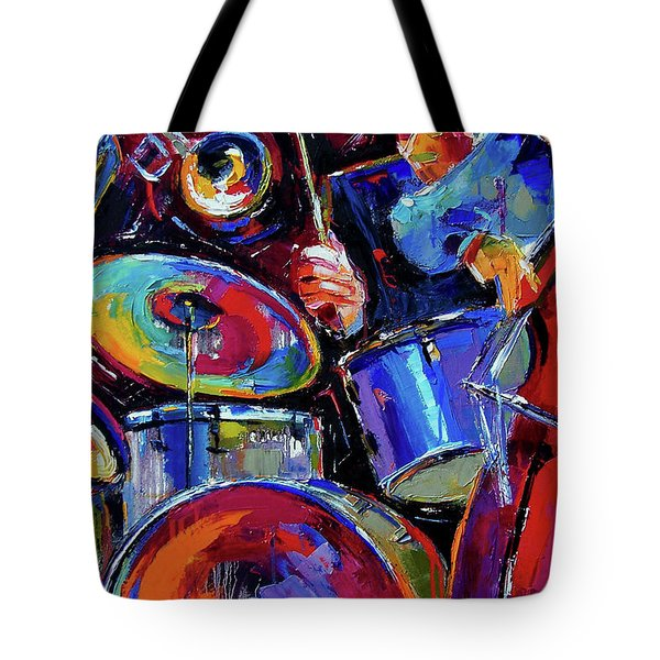 Drums And Friends Tote Bag by Debra Hurd