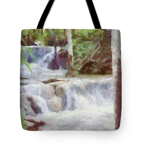 Dunn River Falls Tote Bag by Jeff Kolker