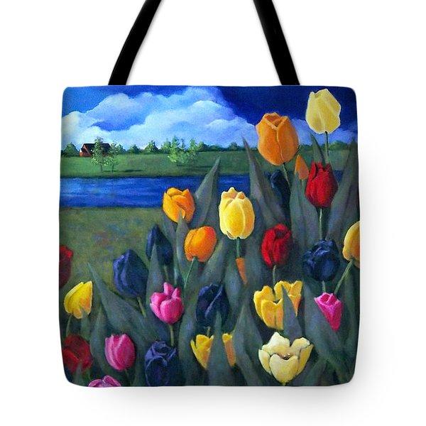 Dutch Tulips With Landscape Tote Bag by Joyce Geleynse