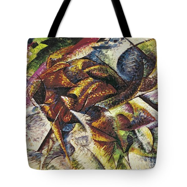 Dynamism Of A Cyclist Tote Bag by Umberto Boccioni