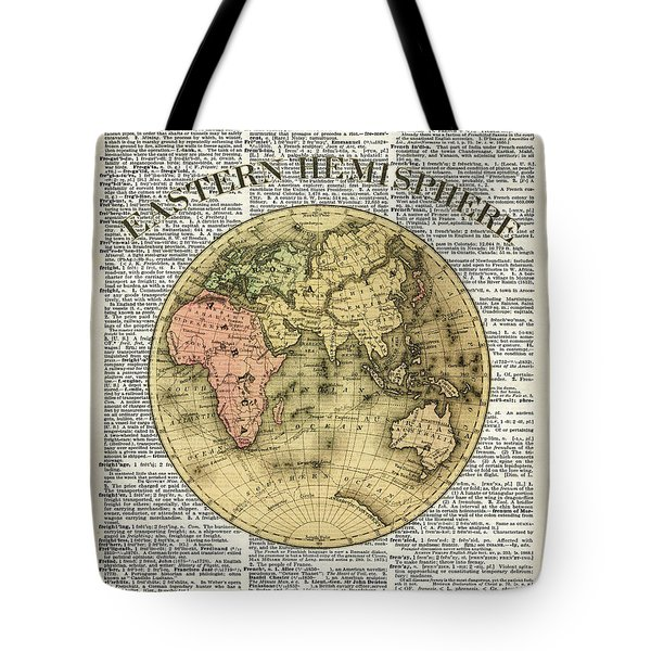 Eastern Hemisphere Earth Map Over Dictionary Page Tote Bag by Jacob Kuch