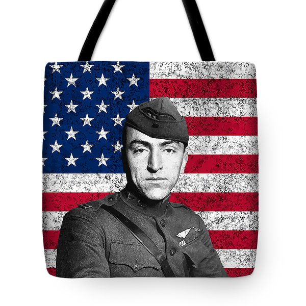 Eddie Rickenbacker and The American Flag Tote Bag by War Is Hell Store