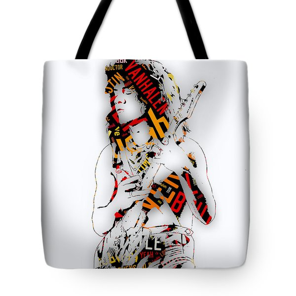 Eddie Van Halen Everybody Want's Some Lyrics Tote Bag by Marvin Blaine