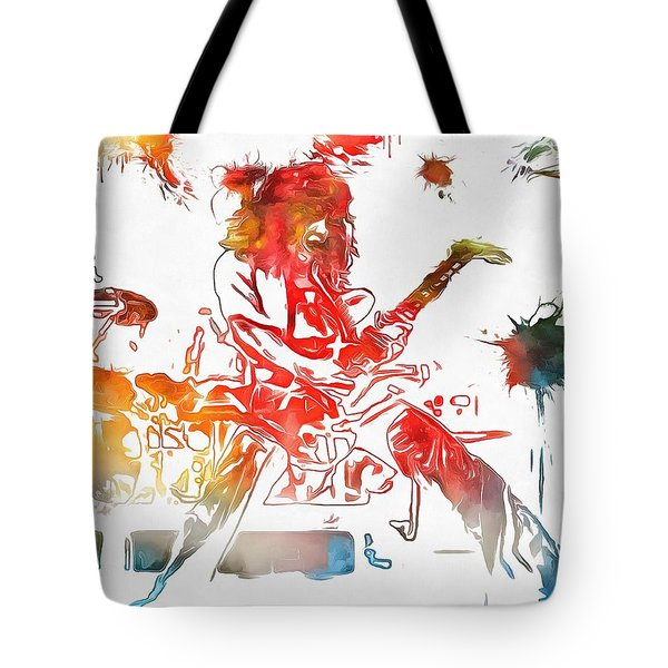 Eddie Van Halen Paint Splatter Tote Bag by Dan Sproul
