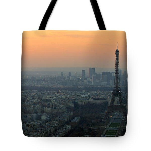 Eiffel Tower At Dusk Tote Bag by Sebastian Musial