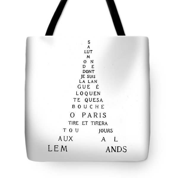 Eiffel Tower Tote Bag by Guillaume Apollinaire
