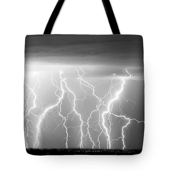 Electric Skies in Black and White Tote Bag by James BO  Insogna