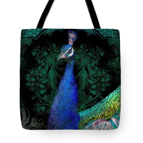 Elegant Peacock W Vintage Scrolls  Tote Bag by Audrey Jeanne Roberts