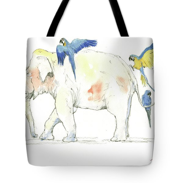 Elephant And Parrots Tote Bag by Juan Bosco