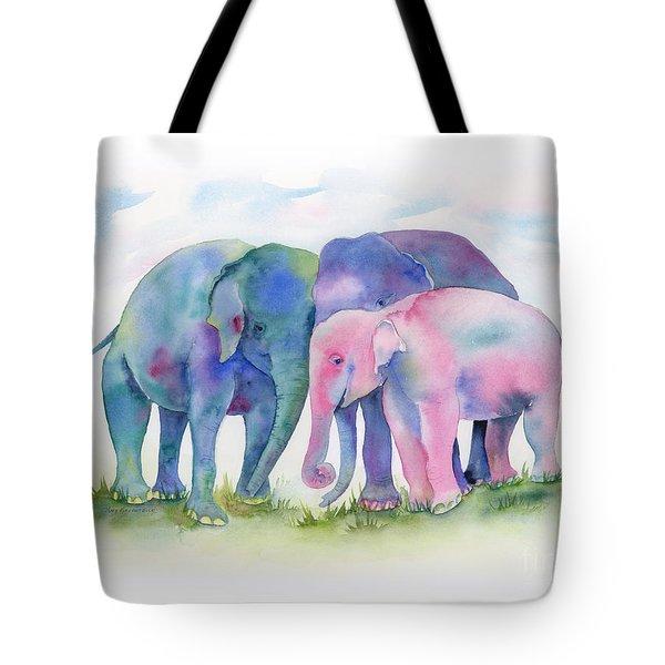 Elephant Hug Tote Bag by Amy Kirkpatrick