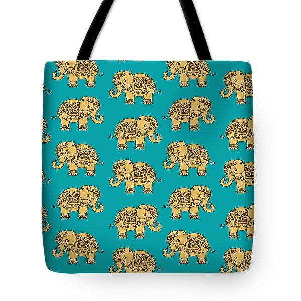 Elephant Pattern Tote Bag by Krishna Kharidehal