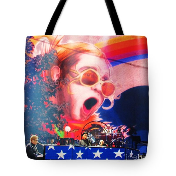 Elton John Then And Now Tote Bag by Allen Meyer