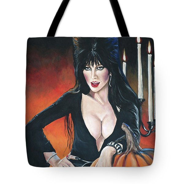 Elvira Mistress Of The Dark Tote Bag by Tom Carlton