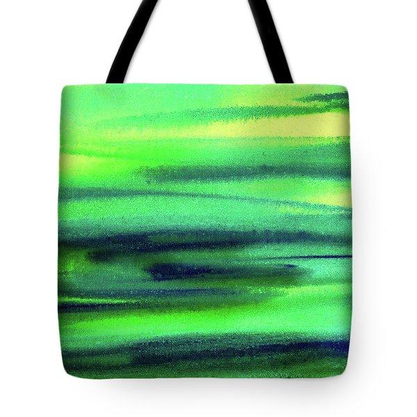 Emerald Flow Abstract Painting Tote Bag by Irina Sztukowski
