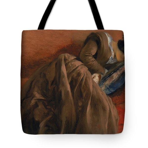 Emilie The Artist's Sister Asleep Tote Bag by Adolph Friedrich Erdmann von Menzel