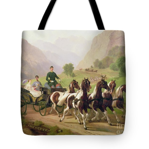 Emperor Franz Joseph I Of Austria Being Driven In His Carriage With His Wife Elizabeth Of Bavaria I Tote Bag by Austrian School
