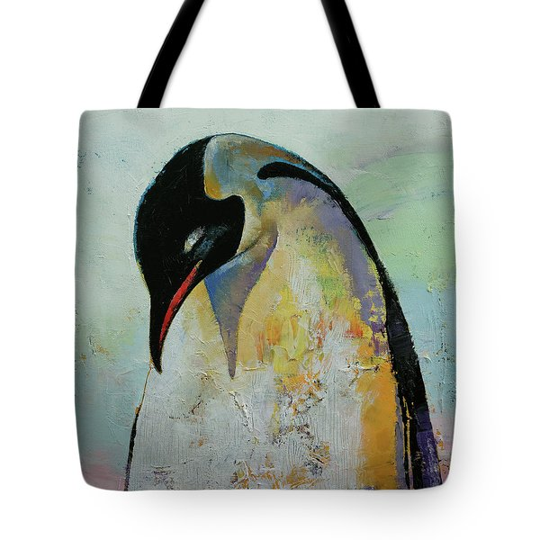 Emperor Penguin Tote Bag by Michael Creese