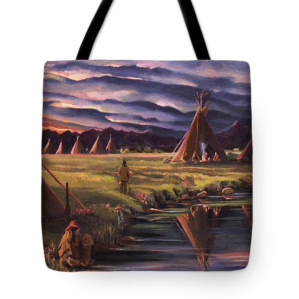 Encampment At Dusk Tote Bag by Nancy Griswold
